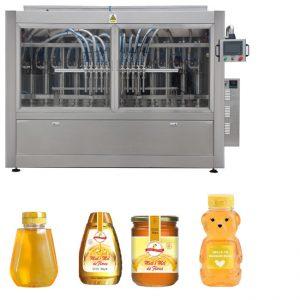 स्वचालित सर्वो पिस्टन प्रकार सॉस हनी जैम उच्च चिपचिपापन तरल भरने कैपिंग लेबलिंग मशीन लाइन